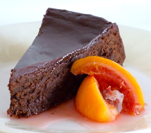 Flourless Dark Chocolate & Blood Orange Olive Oil Cake